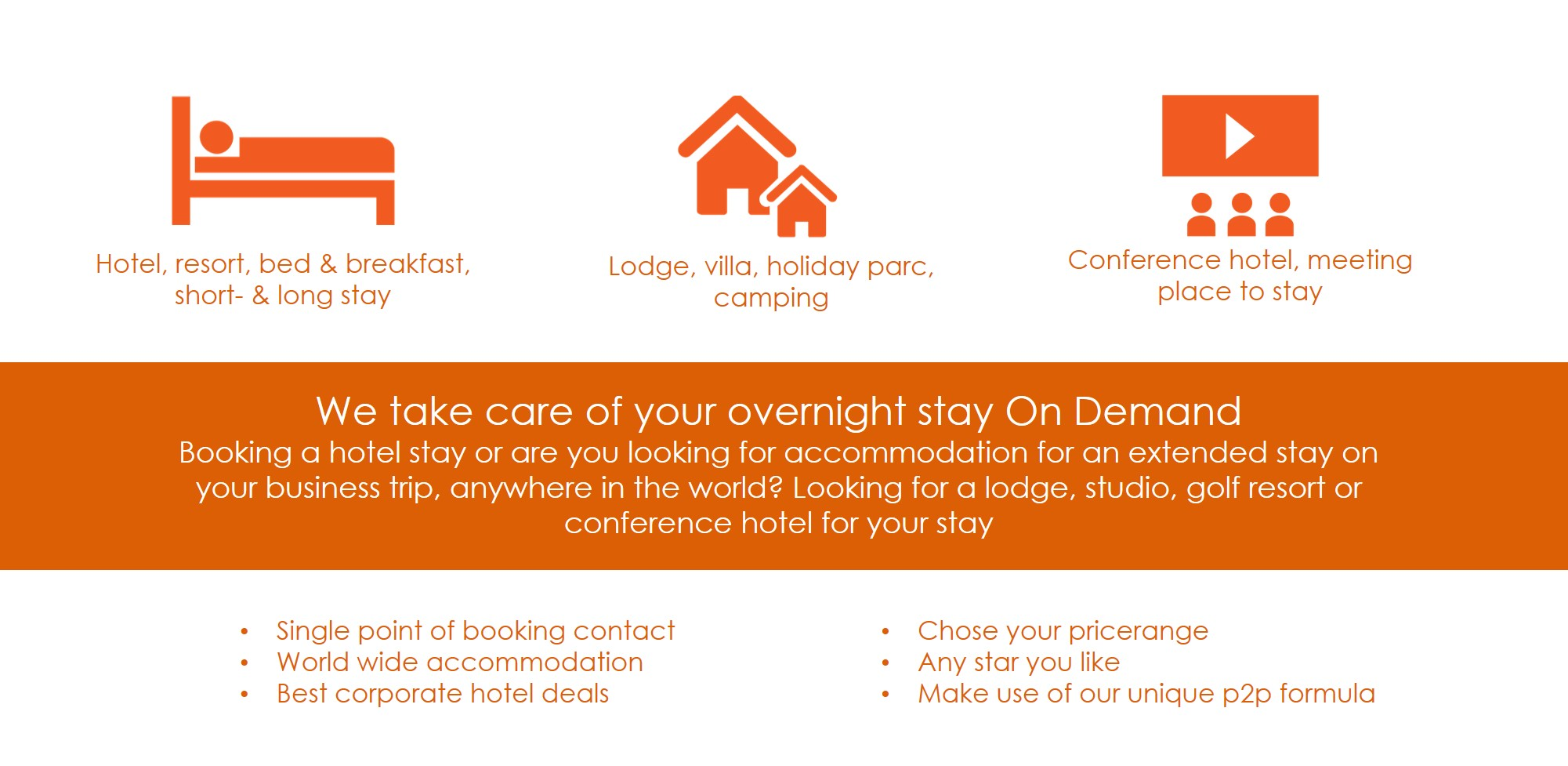 Book an accommodation yourself or let us take care of your overnight stay Booking a hotel stay or are you looking for accommodation for an extended stay on your business trip, anywhere in the world? Looking for a lodge, studio, golf resort or conference hotel for your stay in the Netherlands or abroad? Or are you looking for a meeting room or conference facilities with accommodation? The professionals at Event1001-bookings can search, book and pay for the right accommodation and any additional services you may require. There is a world open to you! Mail or contact us, we are happy to help you.