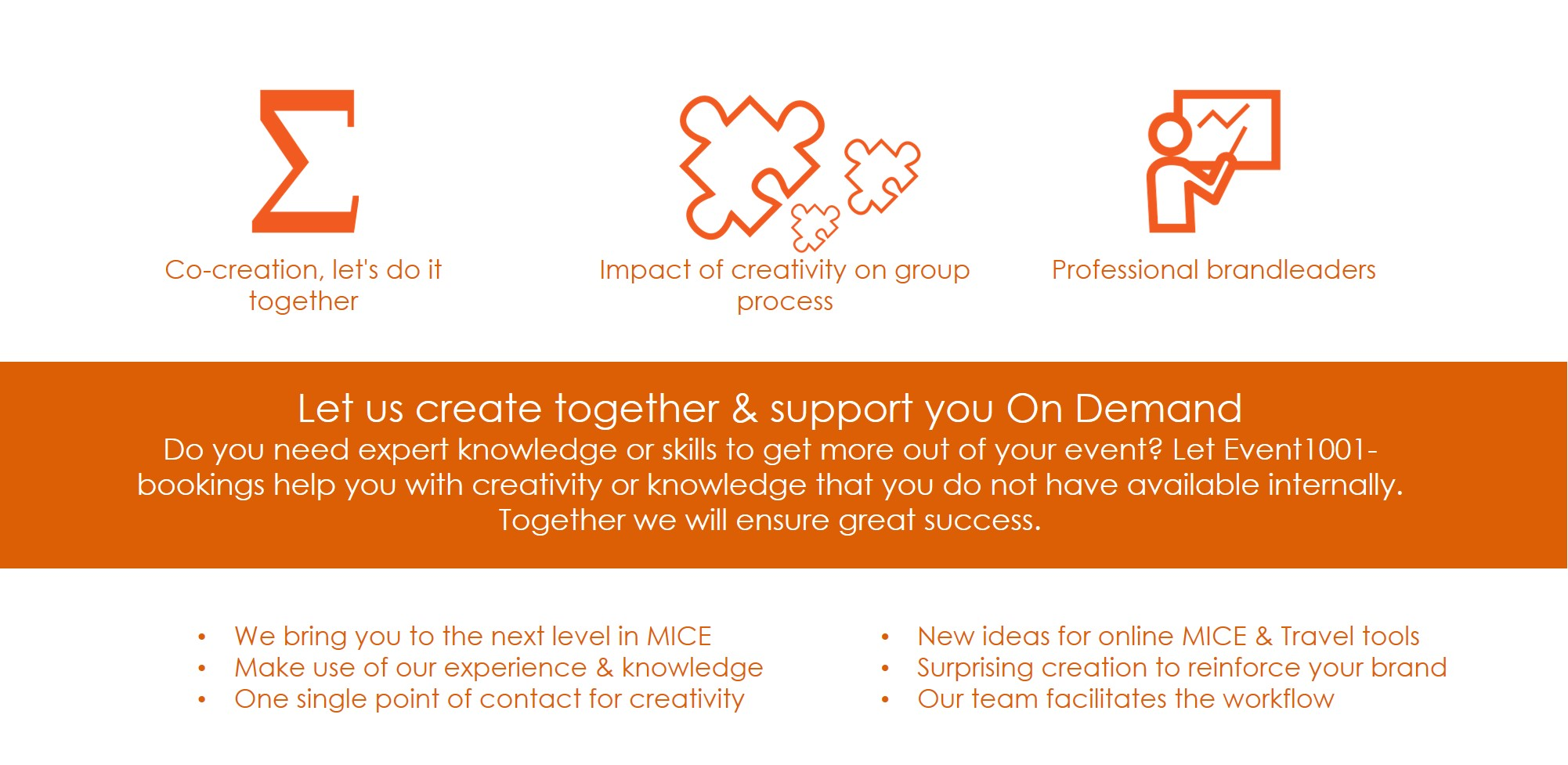 Co-creation, let's do it together Are you organising your own event yourself, but do you need expert knowledge or skills to get more out of your event? Are you standing alone or do the representatives of an organisation not cover all the competences needed to ensure that your stand will be a success at trade fair? Let Event1001-bookings help you with creativity or knowledge that you do not have available internally. Together we will ensure great success.