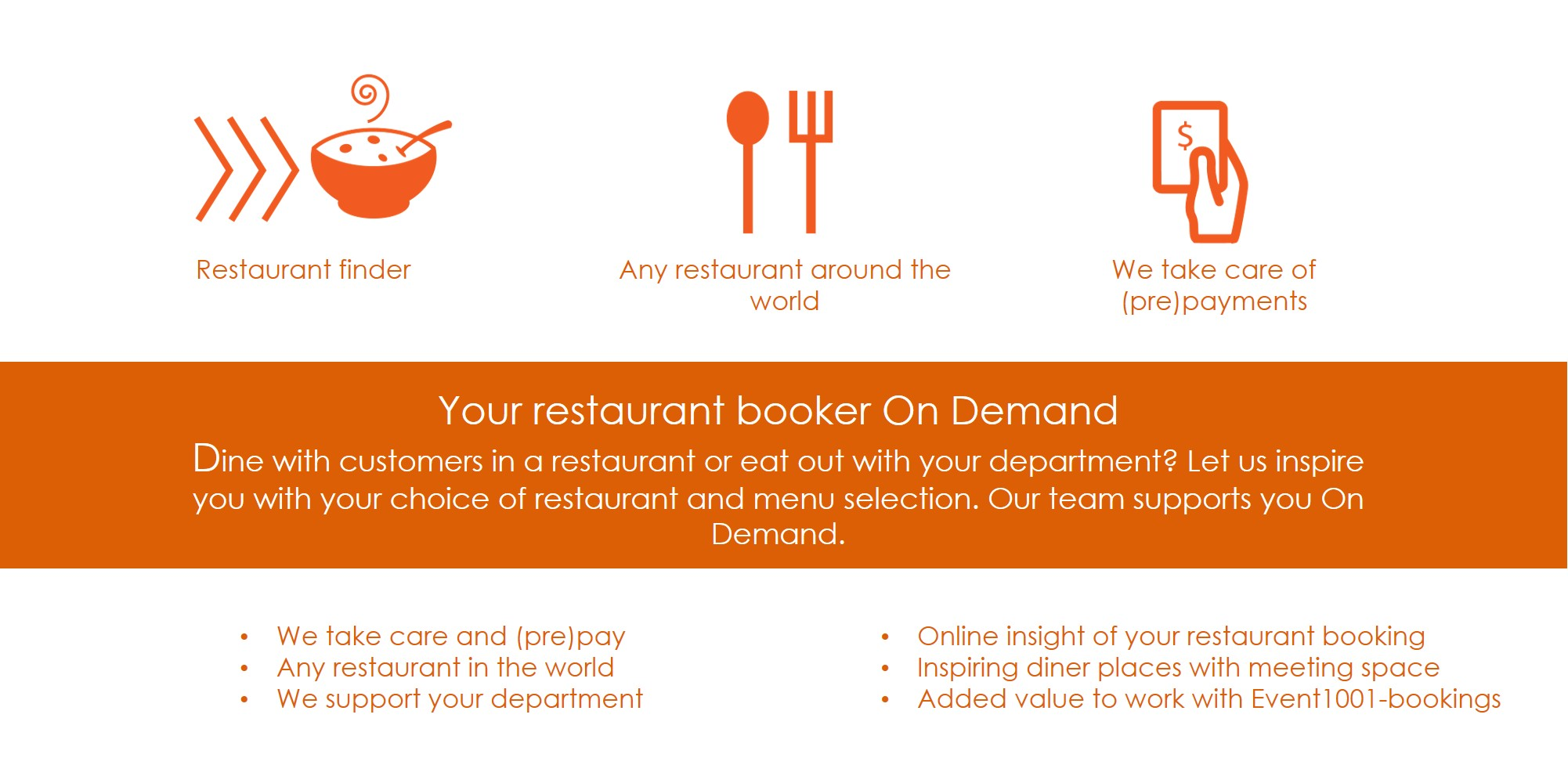 We are your dinner & meeting place supporter Would you like to dine with your customers in a restaurant or eat out with your department? Let us inspire you with your choice of restaurant and menu selection. Event1001-bookings can also book and cater for your table or dinner arrangement with a meeting in any restaurant anywhere in the world. We can handle changes, dietary requirements, and number of people on your behalf, as well as payment and invoice processing so that you do not have to pay on site. This saves you from the related administrative work. Request for catering facilities at your office.