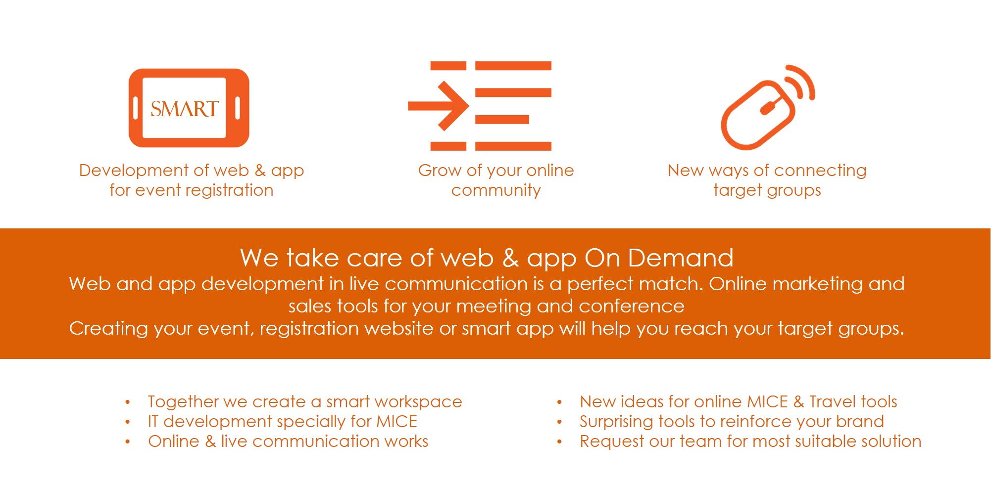 Purpose built Website & Apps for meeting and events @yourservice Event1001-bookings offers you service Web & Apps as a tool for your business events or as a general communication tool. Do you need a temporary website on which visitors to your event can register? Are you looking for a special app that can help you grow the online community of your company? Our Web & Apps supports you with the development of an online and live comments.
